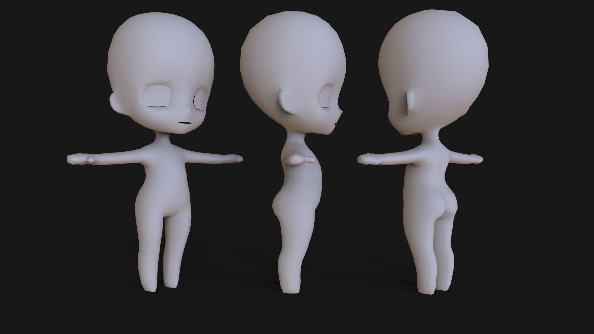 Chibi Base Mesh 3d Model Chibi 3d Model Character 3d Model