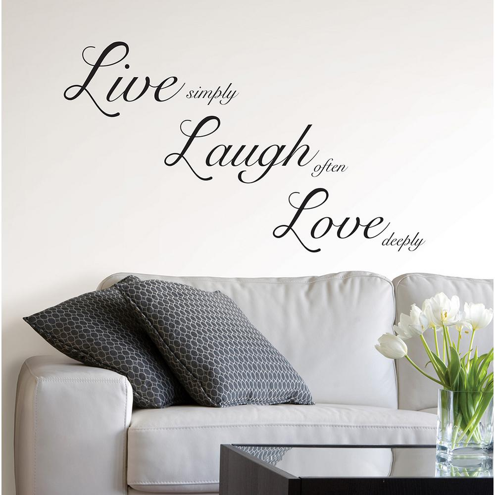 Wall Pops 19 5 In X 17 25 In Live Laugh Love Wall Decal Wpq1744 The Home Depot Love Wall Wall Quotes Decals Live Laugh Love