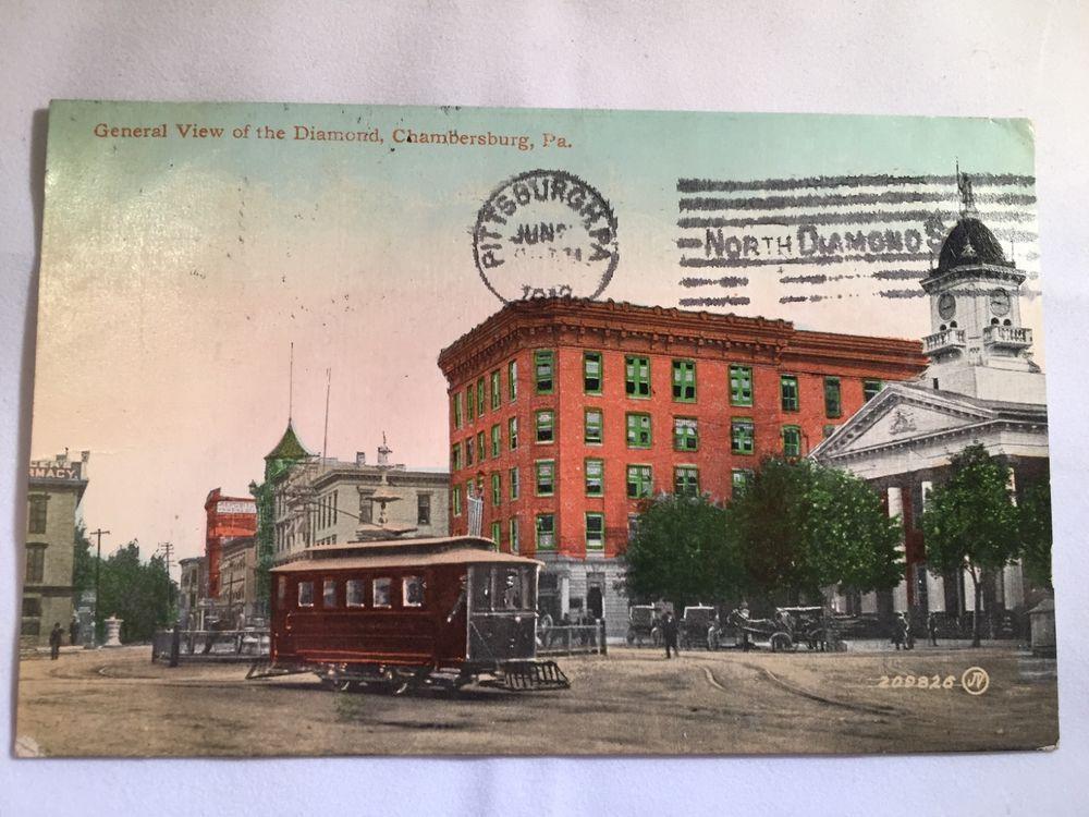 Vintage View Of The Diamond Chambersburg Pa Postcard Postmarked