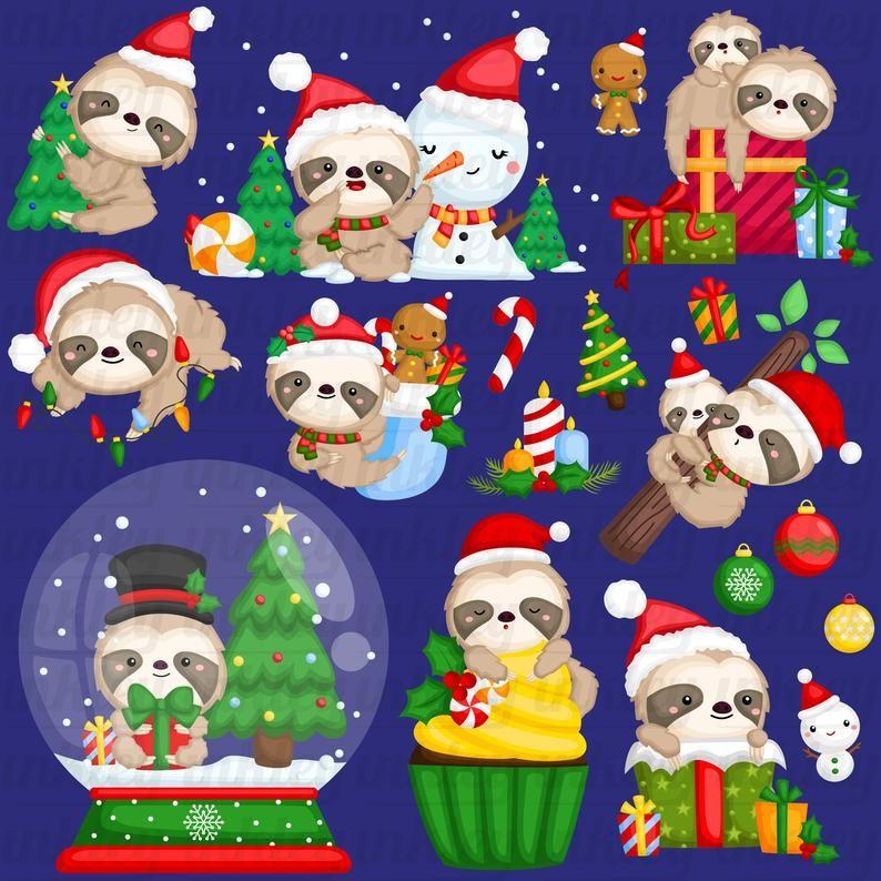 Chirstmas Sloth Clipart Chirstmas Animal Clipart Cute Etsy In 2021 Clip Art Hello Kitty Christmas Christmas Tree Art