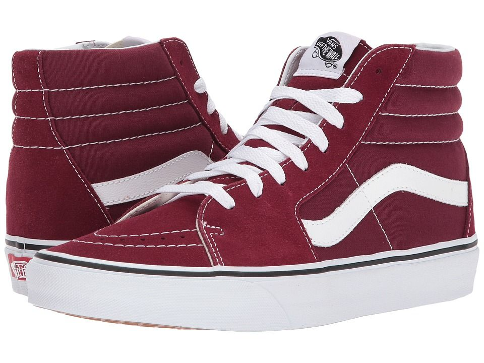 burgundy and white high top vans