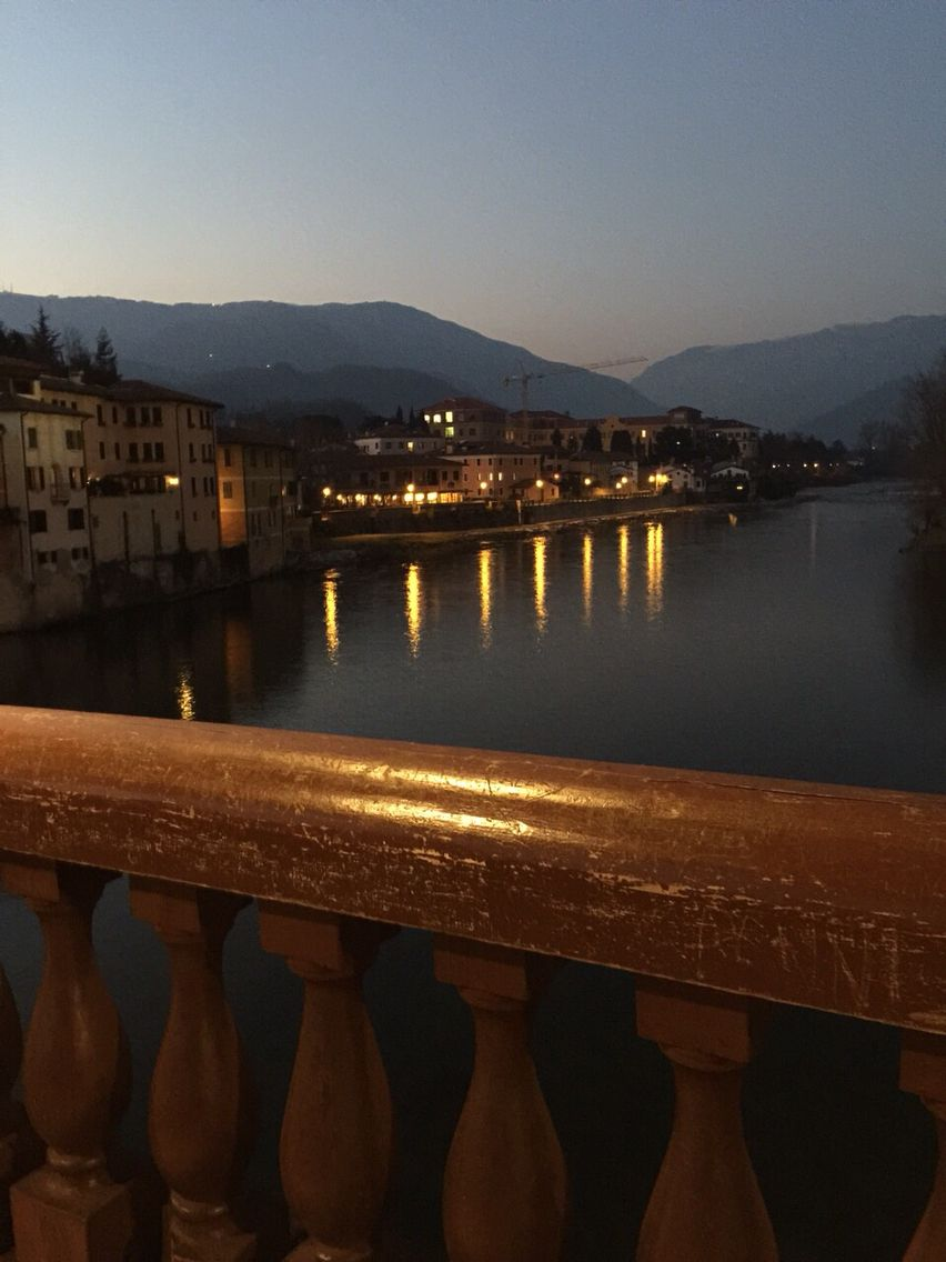 Bassano del Grappa at dusk from the Ponte Vecchio...origins  1200's with additional work by Palladio in the 1500's.... Another hidden secret!