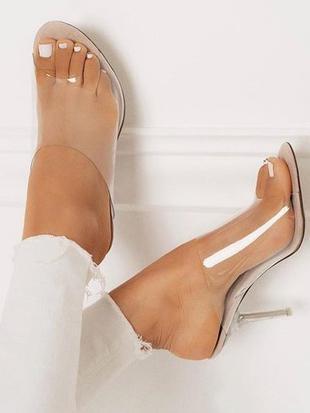 Clear Mules Peep Toe Sandal High Heels