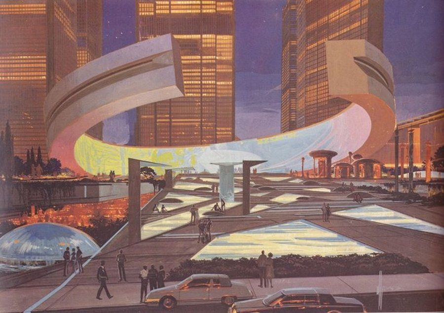 Architectural Concept Art Syd Mead Retrofuturism Syd Mead