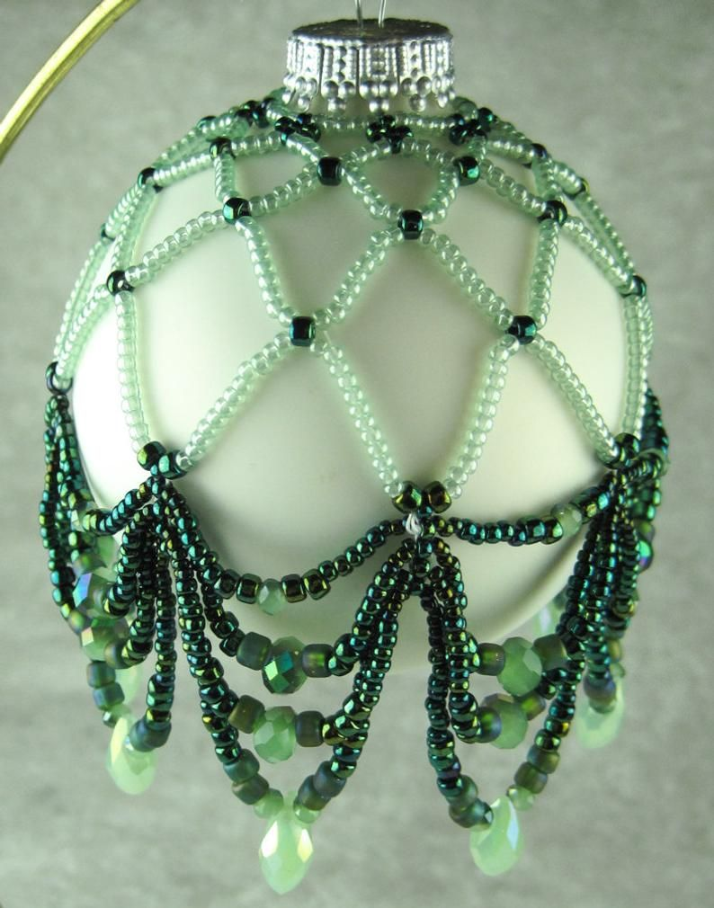 Tutorial Chevron Drape Ornament Cover Beaded Ornament Covers Beaded Christmas Decorations Jewel Ornaments