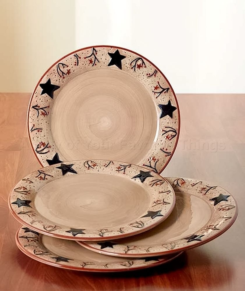 Rustic Star Kitchen Decor 4 Pc Dinner Plates Rustic Black Star Primitive Berry Kitchen Table