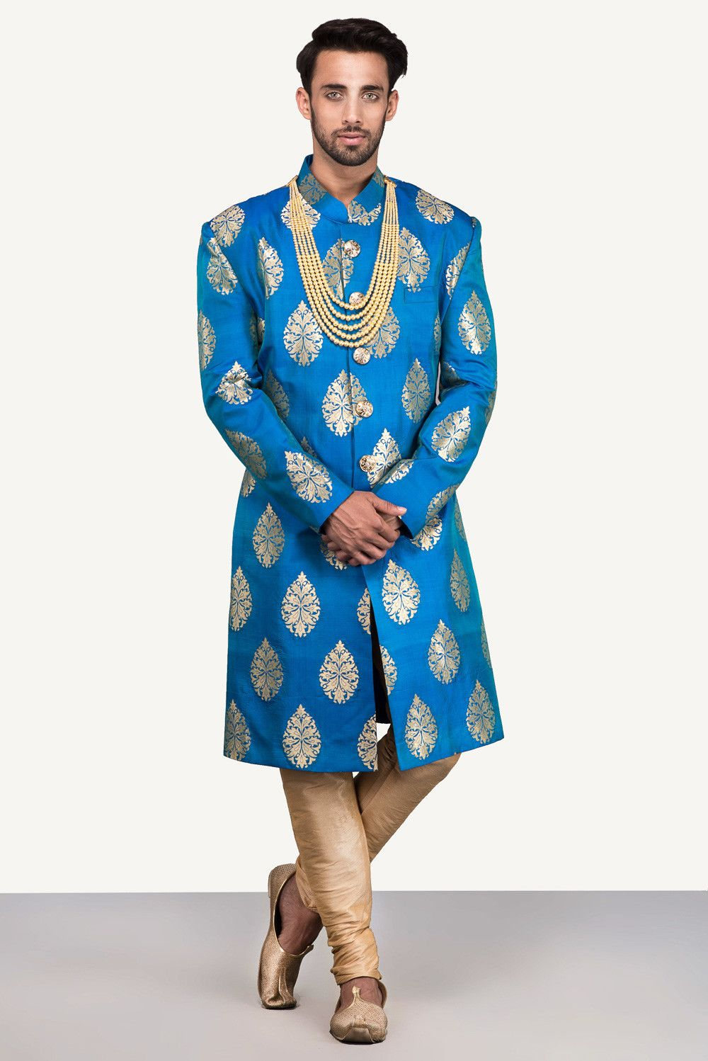 THE STYLE LOFT BY RITU DEORA Blue Brocade Sherwani With Golden ...