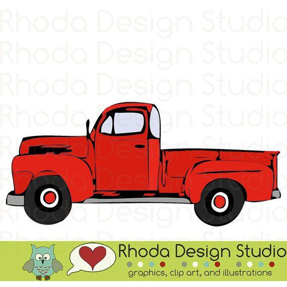 Red Vintage Pickup Truck Full Side Stamp Digital Clip Art ...