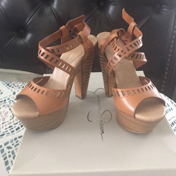 deec12f887f Jessica Simpson JS-Trixie Tan platform wedge heels Tan Leather 5.5 heels.  Gently used. Jessica Simpson Shoes Platforms