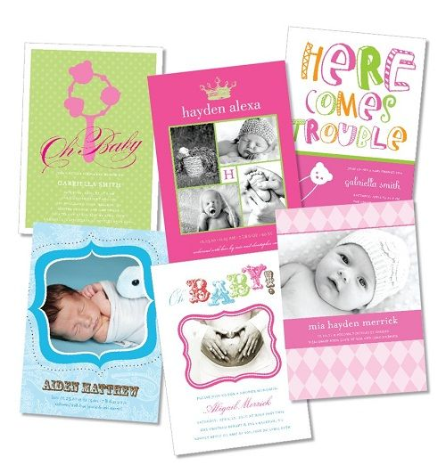 Fun styles, fresh colors- modern Birth Announcement Photo Card for Baby Boy, Girl, or Twins From Little Angel Announcements