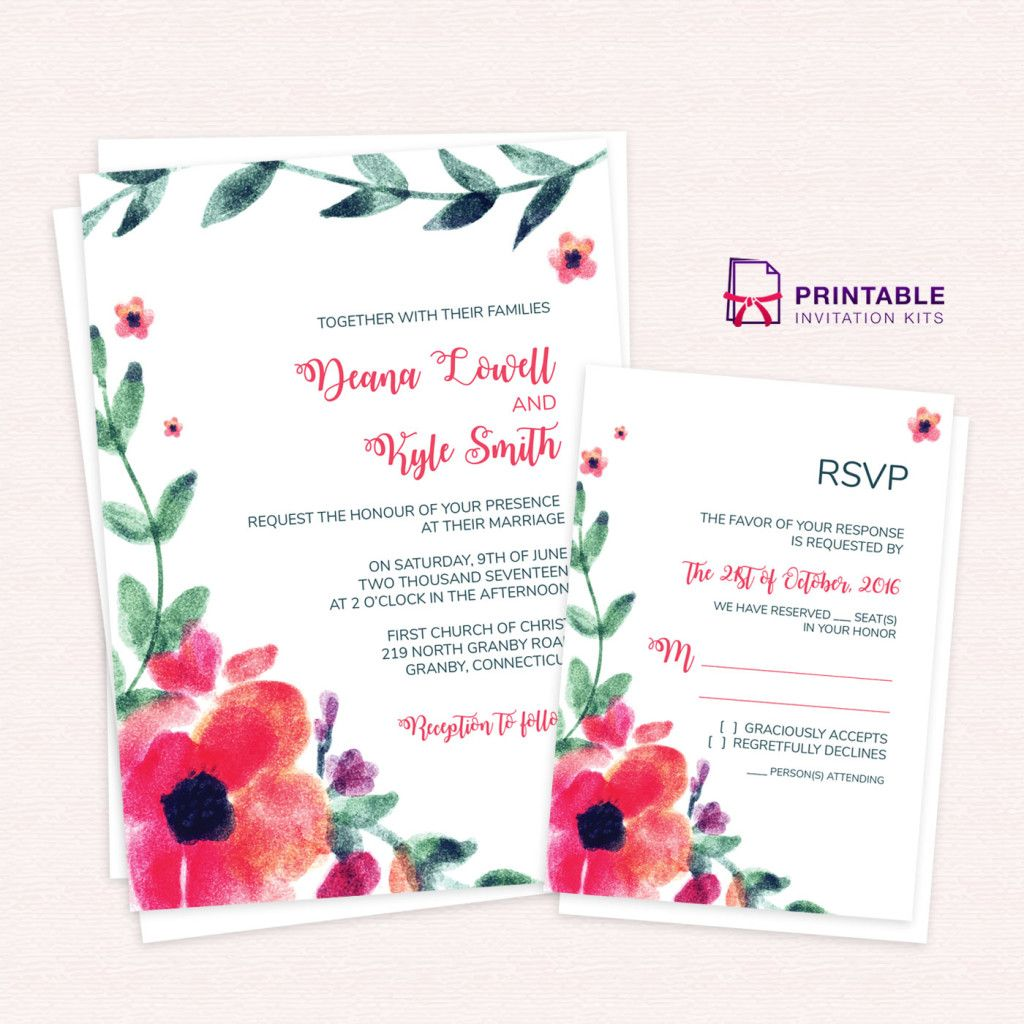 Free Pdf Download Wedding Invitation And Rsvp W Wedding