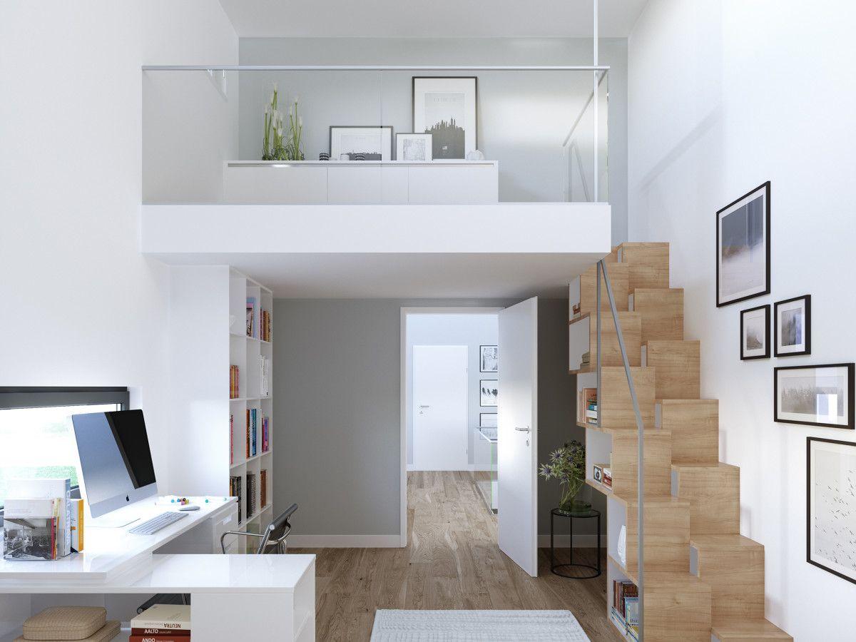Moderne offene Innen-Treppe aus Holz mit Galerie - Innenarchitektur ...