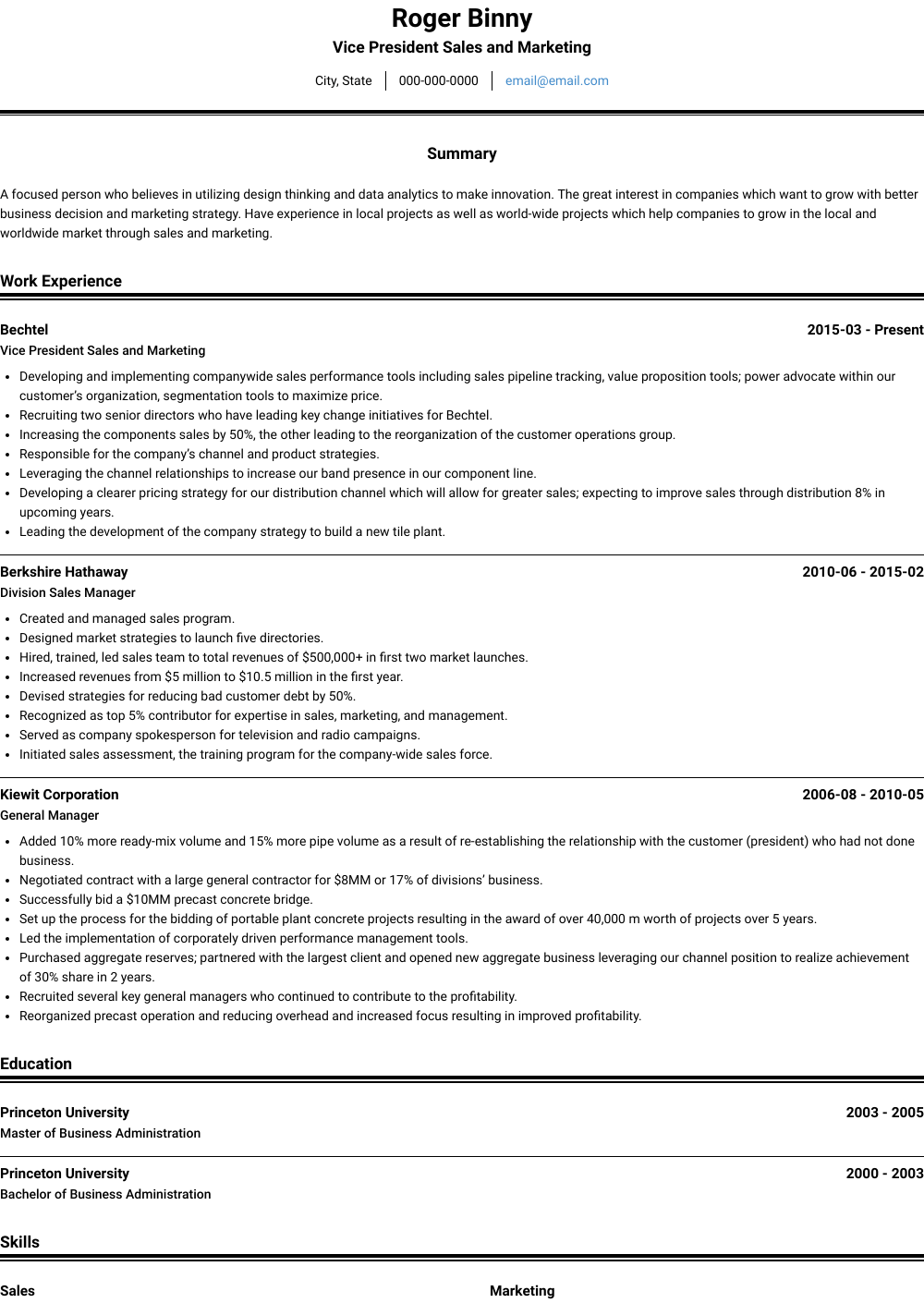 Sales And Marketing Resume Samples & Templates
