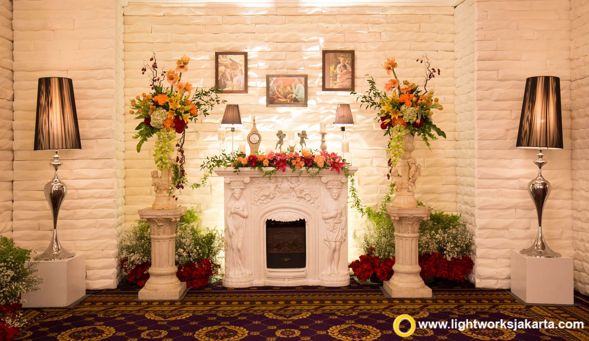 simple yet gorgeous fireplace decoration at the iwan and euginia engagement party at mulia hotel - Orange Hotel Decoration