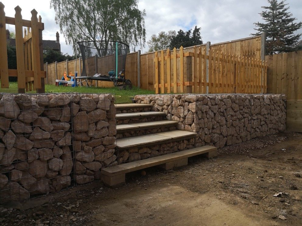 Gabion basket retaining wall and steps garden projects
