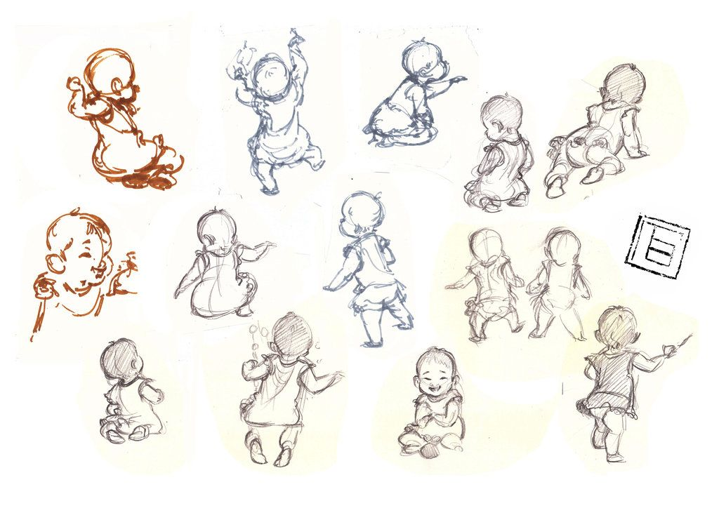 gesture drawing baby girl sketches by TBchoideviantart on