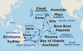 Map showing the port stops for hawaii tahiti south pacific for map showing the port stops for hawaii tahiti south pacific for more details gumiabroncs Choice Image