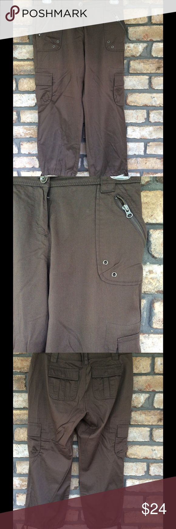 NY&Co Cargo Pants - NEW LISTING These are like new, I only wore them maybe twice.. They are 100% cotton, they are Inbetween Capri and ankle, depending on ur height, I'm 5'3 so they were more of an ankle pant, but would be more Capri if ur taller. They  have the cargo pockets, zippered pockets in the front, zipper and button closure and drawstring legs. They are comfy and in excellent condition New York & Company Pants Capris