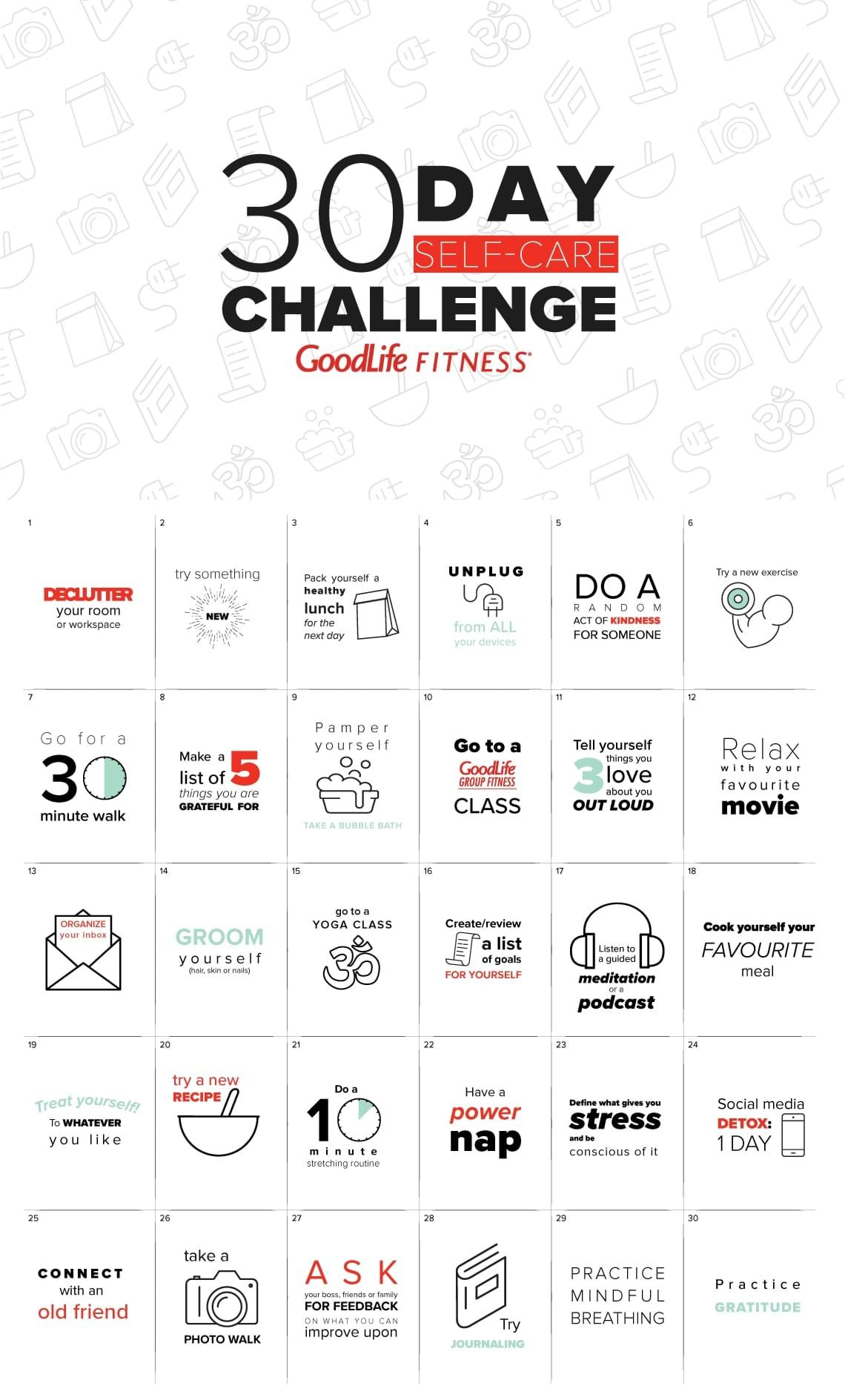 30 day self-care challenge | The GoodLife Fitness Blog