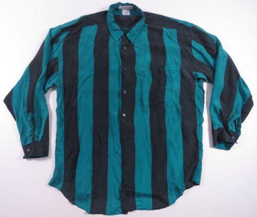 VTG-MONTAGE-AQUA-BLUE-BLACK-STRIPED-SILK-BUTTON-UP-SHIRT-80S-90S-EUC-MENS-L