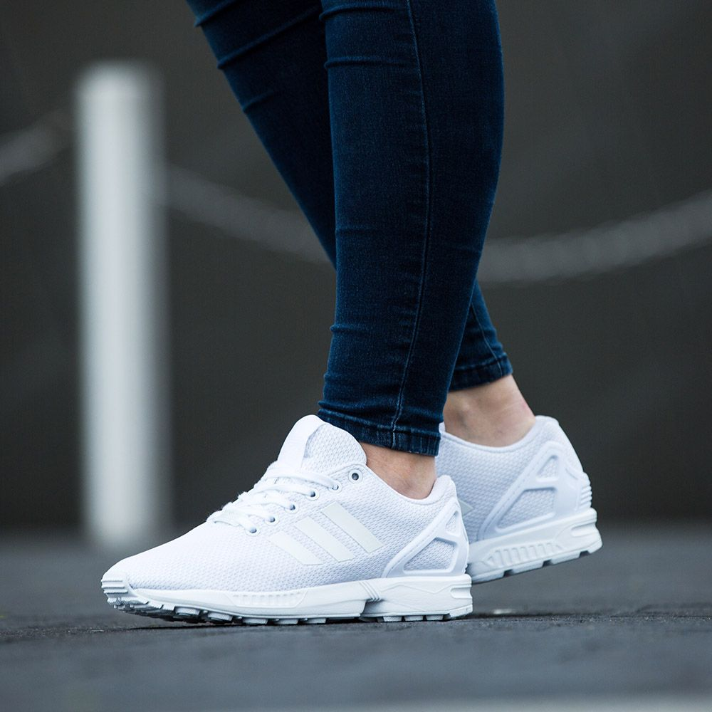 d367b74489f19 The triple white adidas Originals Womens ZX Flux Base Pack Trainer  available online  amp  in