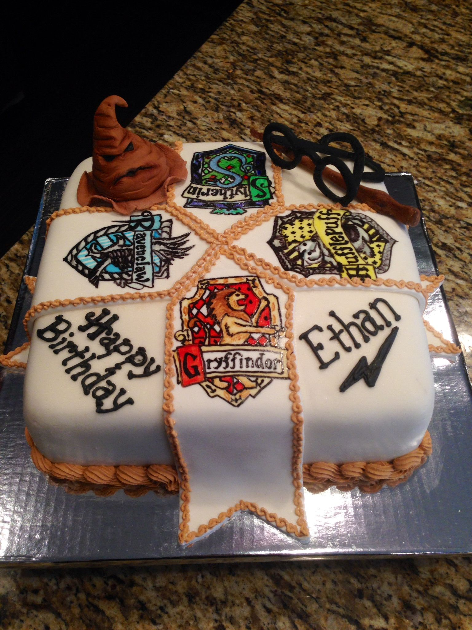 Harry Potter cake... weird that it has the name Ethan on