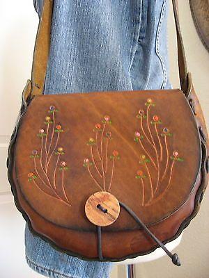 ab6113a5c695 Vtg-60s-70s-Hand-Tooled-Leather-Flowers-Shoulder-Saddle-Bag-Purse-Hippie- Boho