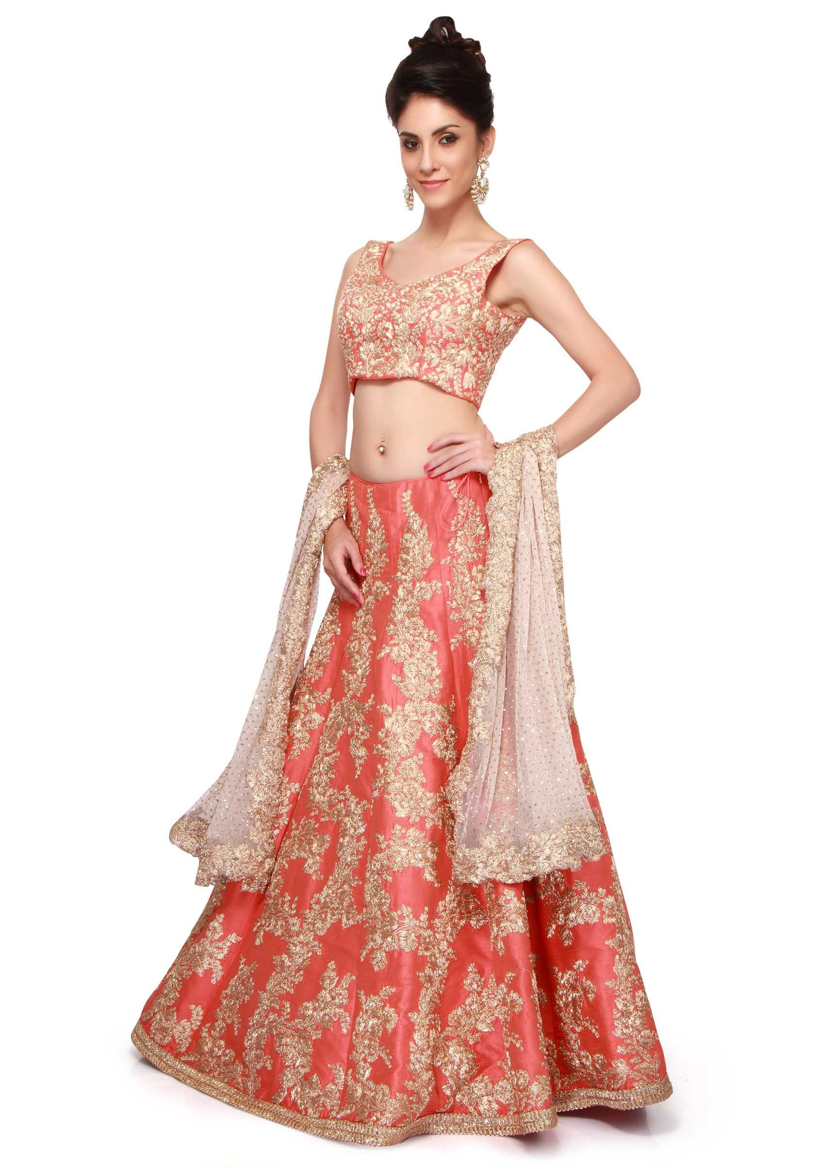 df9bb40cfc Coral lehenga featuring with gold zari embroidery only on Kalki ...