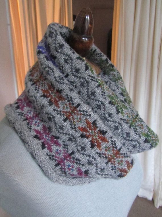 Fair Isle Knitted Wool Cowl Scarf. $56.00, via Etsy. | Cowls, hats ...