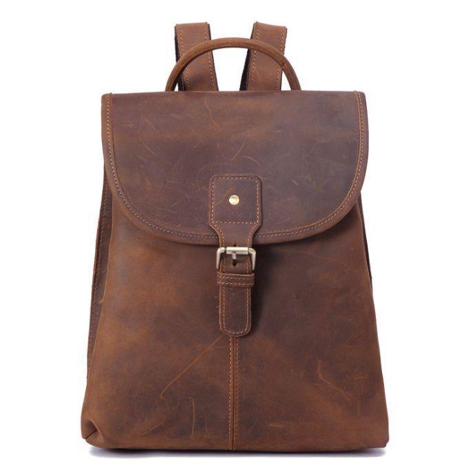 2c3b27a526 Women s Genuine Crazy Horse Cow Leather Backpack Travel Bag Handbag Vintage  M