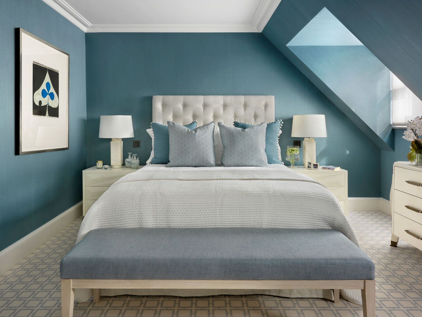 Walls With Subtle Texture Add A Cosy Feel To A Bedroom. Geometric Patterned  Carpet Adds