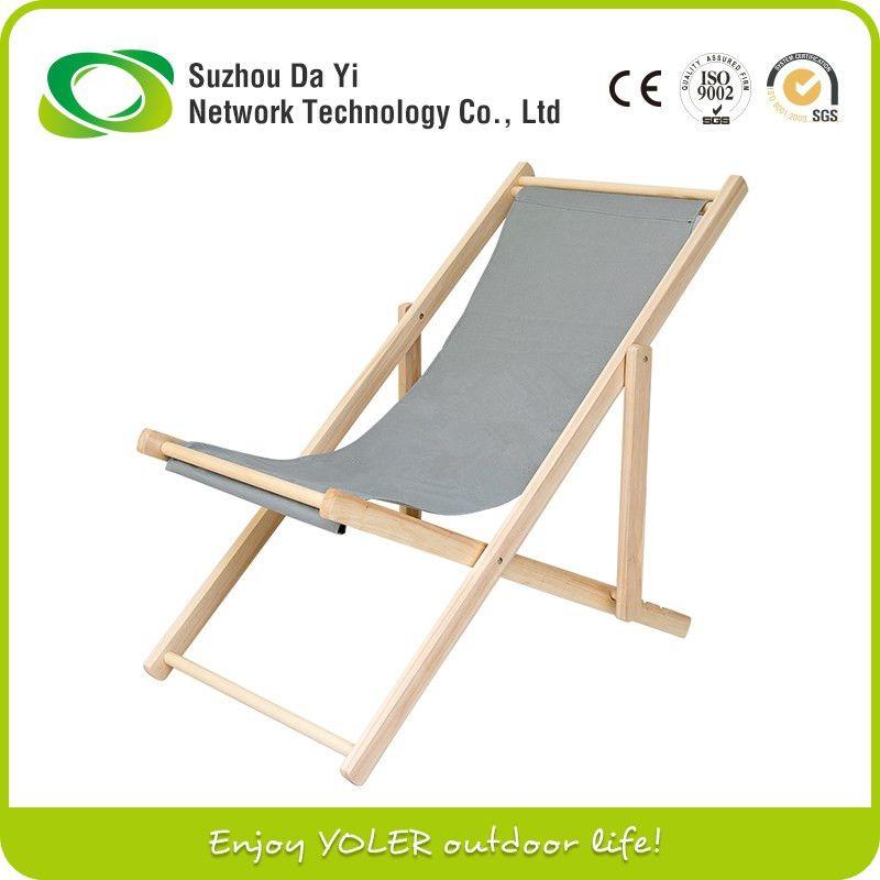 yoler single portable sun beach lounger wooden folding deck chair