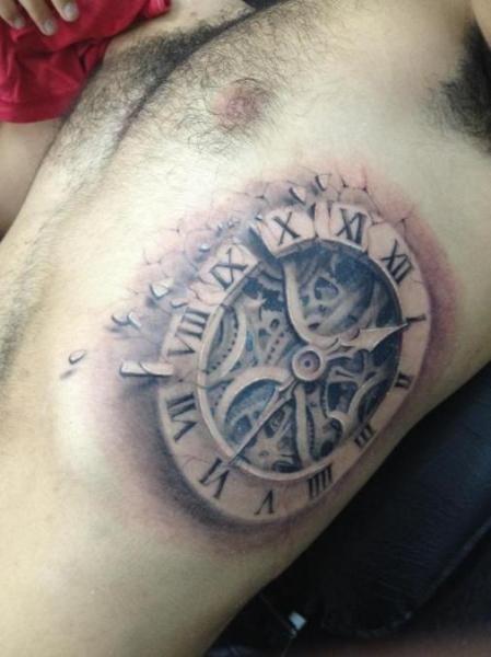 3d real clock tattoo on rib best tattoo designs - Wicked 3d tattoos ...