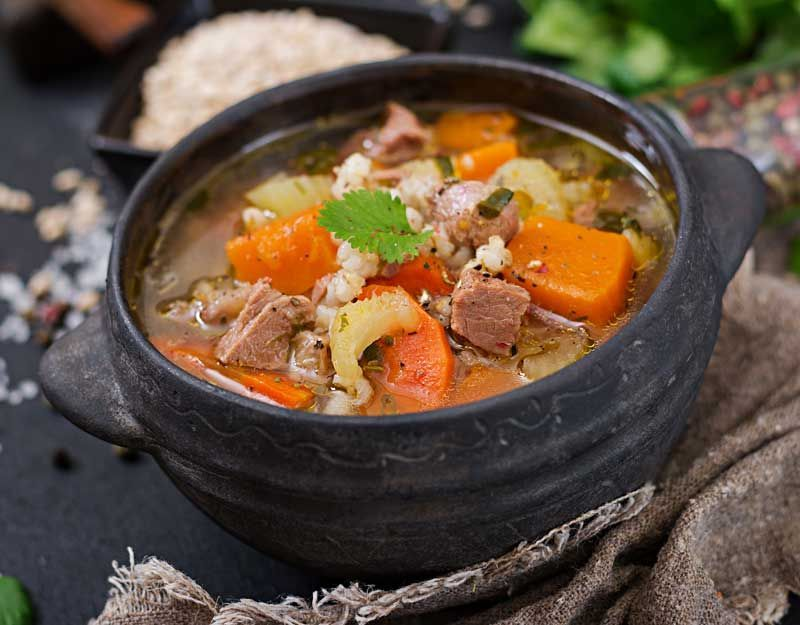 Photo of Hearty venison soup with pearl barley, vegetables and pumpkin …