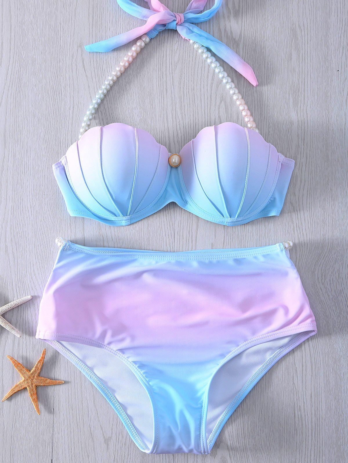 307ddbf9d956f Stylish Halter Neck Tie Dye High Waist Pearl Embellished Bikini Set For  Women