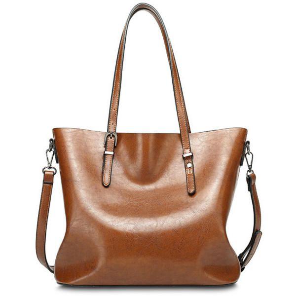 Women Oil Leather Tote Handbag Vintage Shoulder Bag Capacity Big Shopping  Tote Crossbody Bag 2b4dad40d74a3