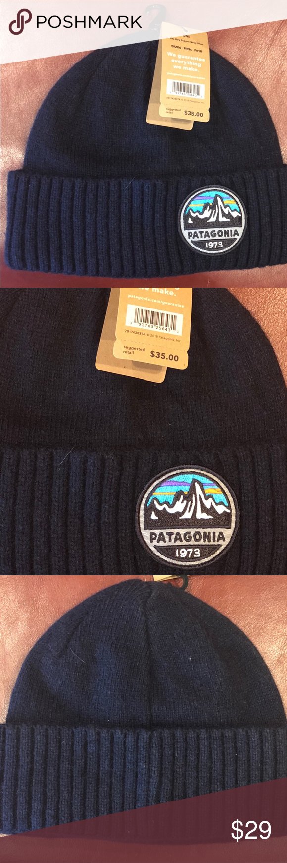 d6079a04487 Patagonia Brodeo Beanie Patagonia Brodeo Beanie Fitz Roy Scope- Navy Blue  Snug fit that will loosen with wear 70% recycled wool 26% recycled nylon 4%  other ...