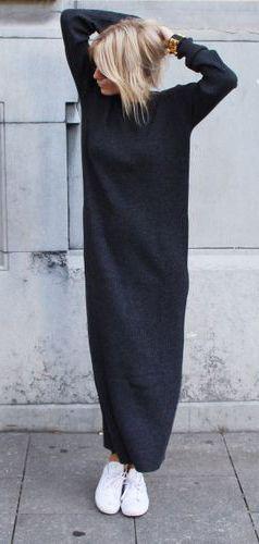 Casual Black Knit Dress