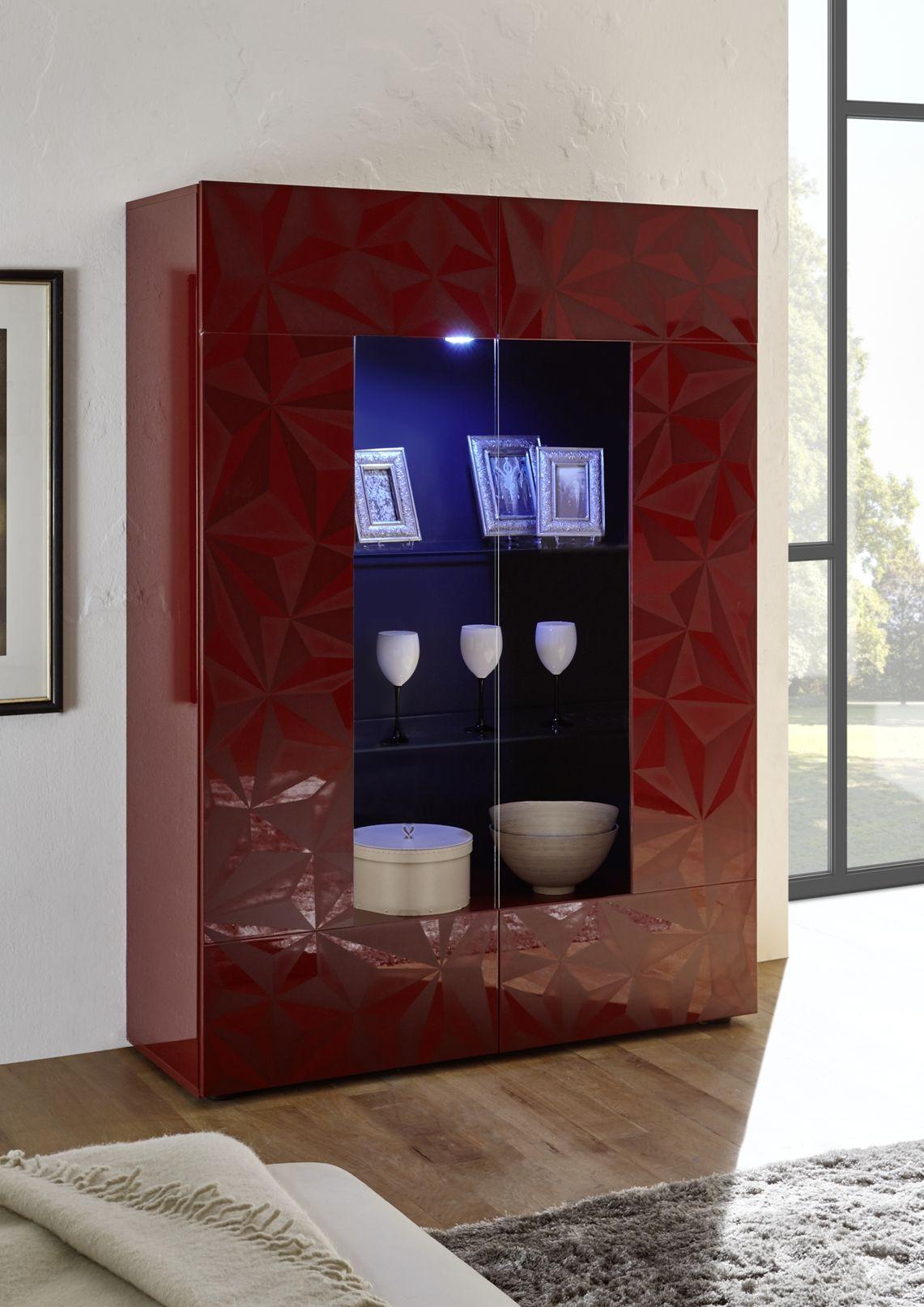 Prismo 06 Vetrina 2 Ante Rosso Lucido Con Serigrafia Con Immagini