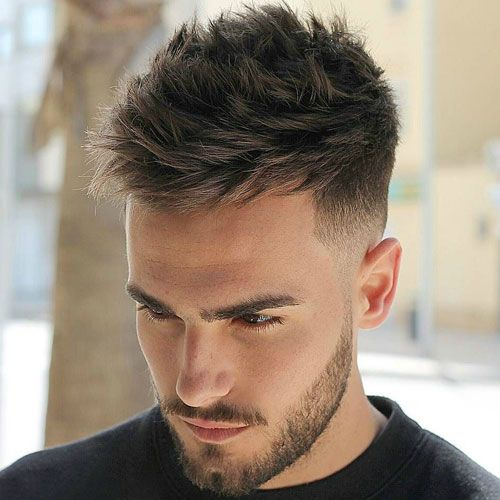 Low Fade With Textured Thick Spikes And Beard Men Hairstyle Thick Hair Hairstyles Men