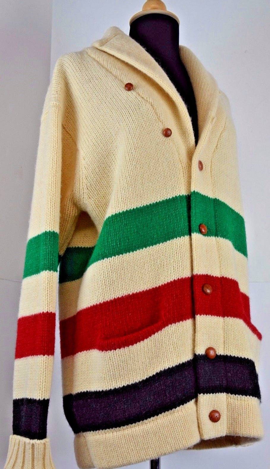 9a45eedd9f21a Vintage Ralph Lauren Shawl Collar Hudson Bay Cardigan Sweater Preppy  Stadium Stripe Wool Women's Red Green Navy Cream