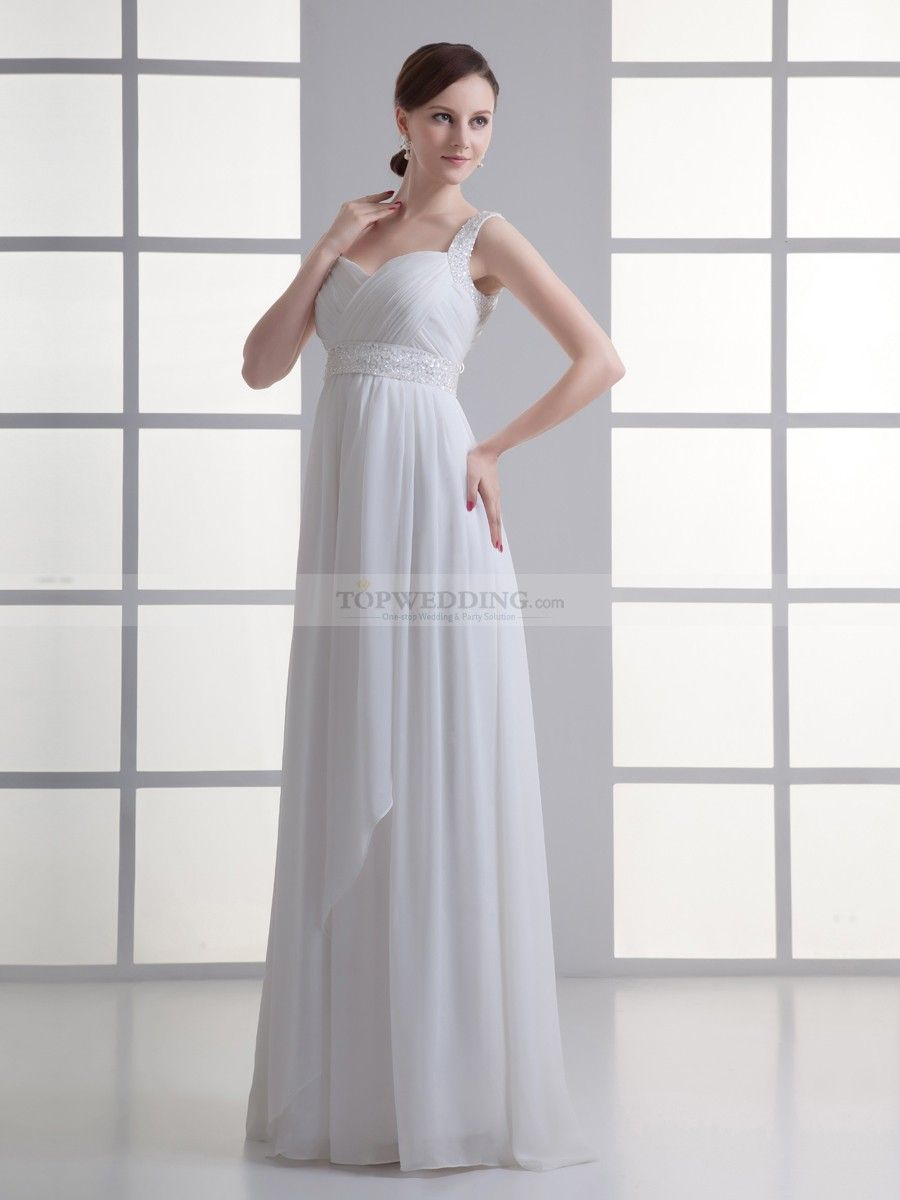 Straps Chiffon Column Wedding Dress with Surplice Bodice and Embellished Sash