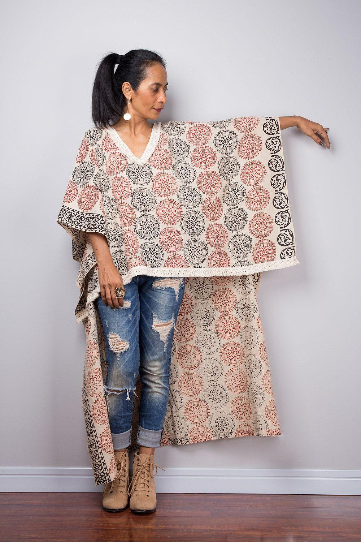 6ef037d064 Blockprint boho kaftan top #nuichan #handmade #shopping Kaftan Tops, Poncho  Tops,