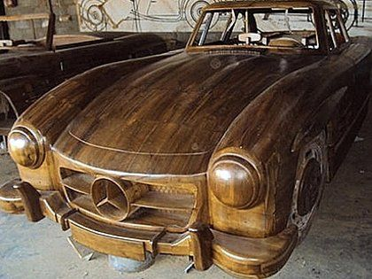 Carved Kayu Mercedes Benz Mobil