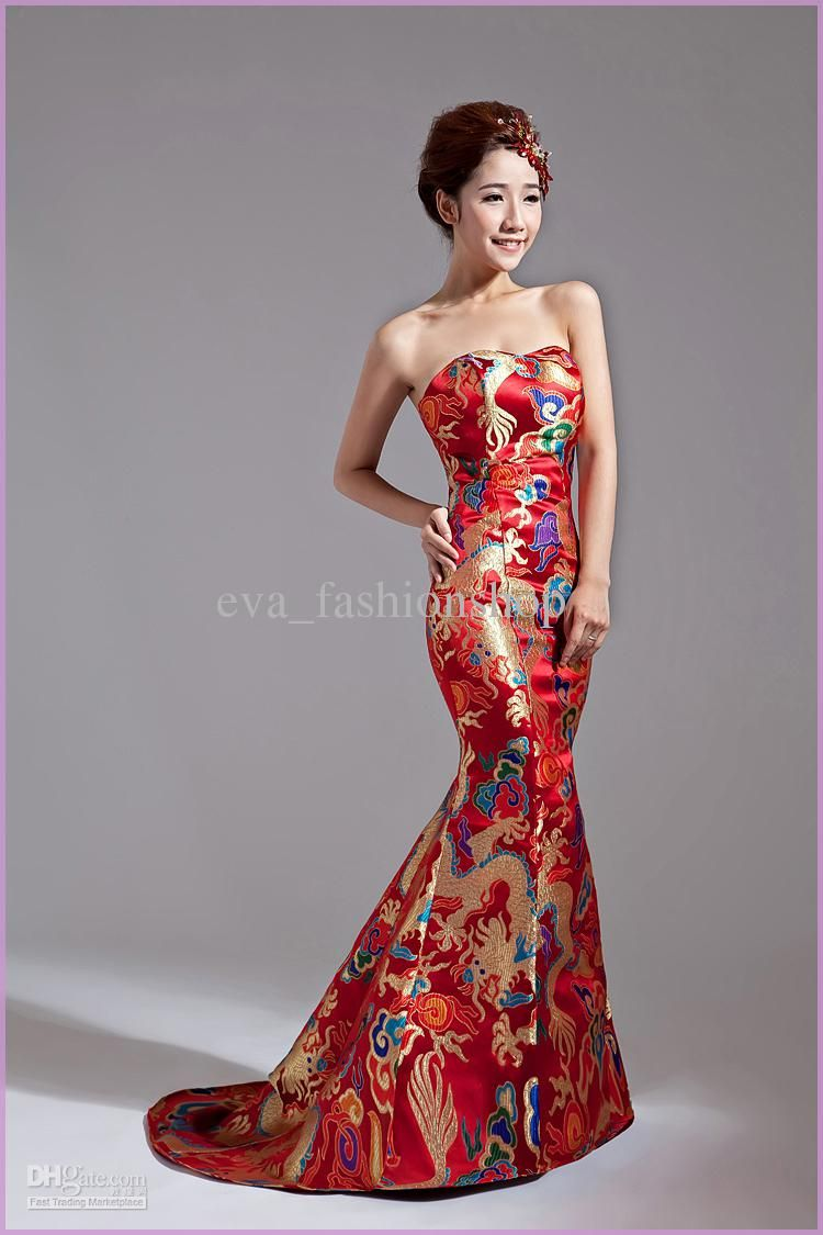 Top sale classical red chinese embroidery cheongsam dragon for Discount wedding dresses phoenix