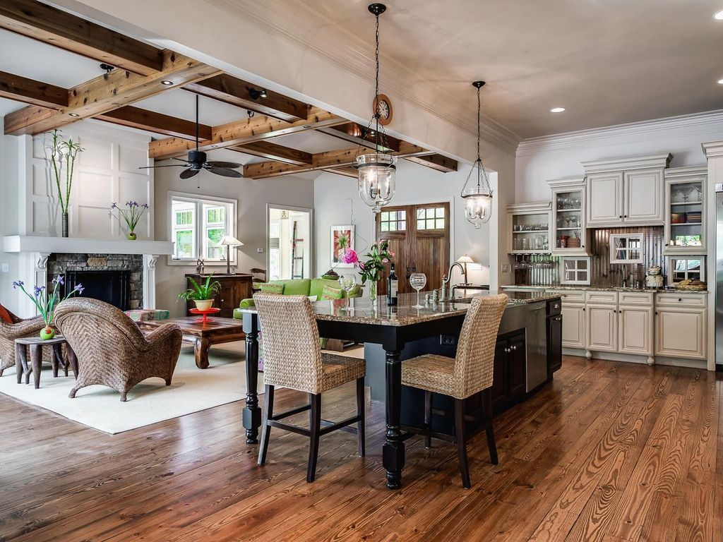 Rustic Great Room with Pendant Light, Seagrass Barstool/Counterstool ...