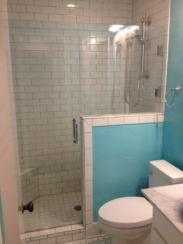 Bath Remodel Tub To Shower Conversion Glass Surround. Hex floor ...
