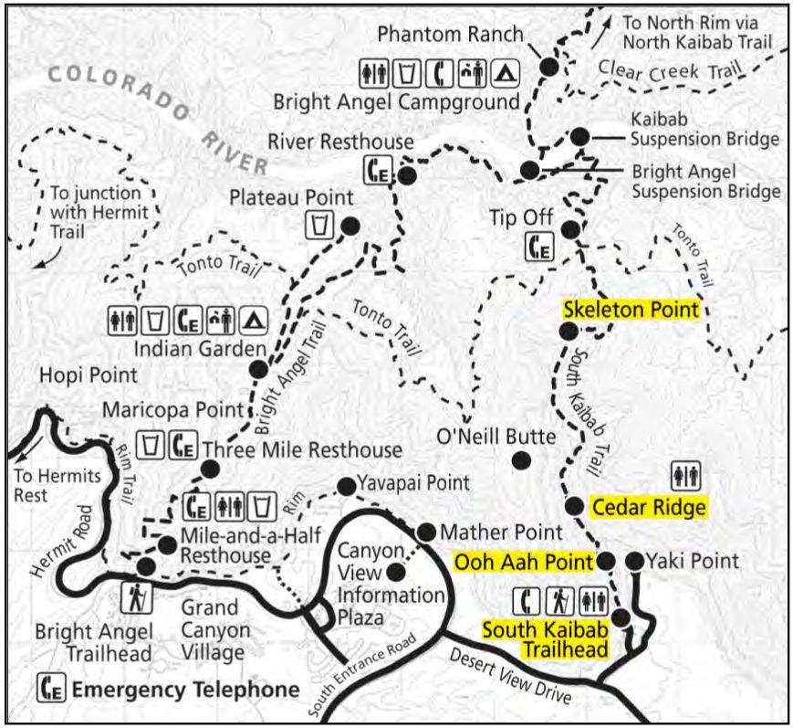 grand canyon hiking trails map Grand Canyon Maps Bright Angel Trail Grand Canyon Map Grand grand canyon hiking trails map