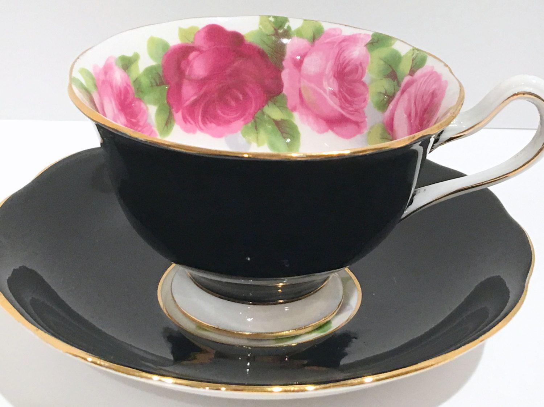 Royal albert bone china tea cup amp saucer winsome pattern ebay - Pink Rose Black Royal Albert Tea Cup And Saucer Pink Rose Cups Black Cups Tea Set English Bone China Tea Cups Tea Cups Vintage