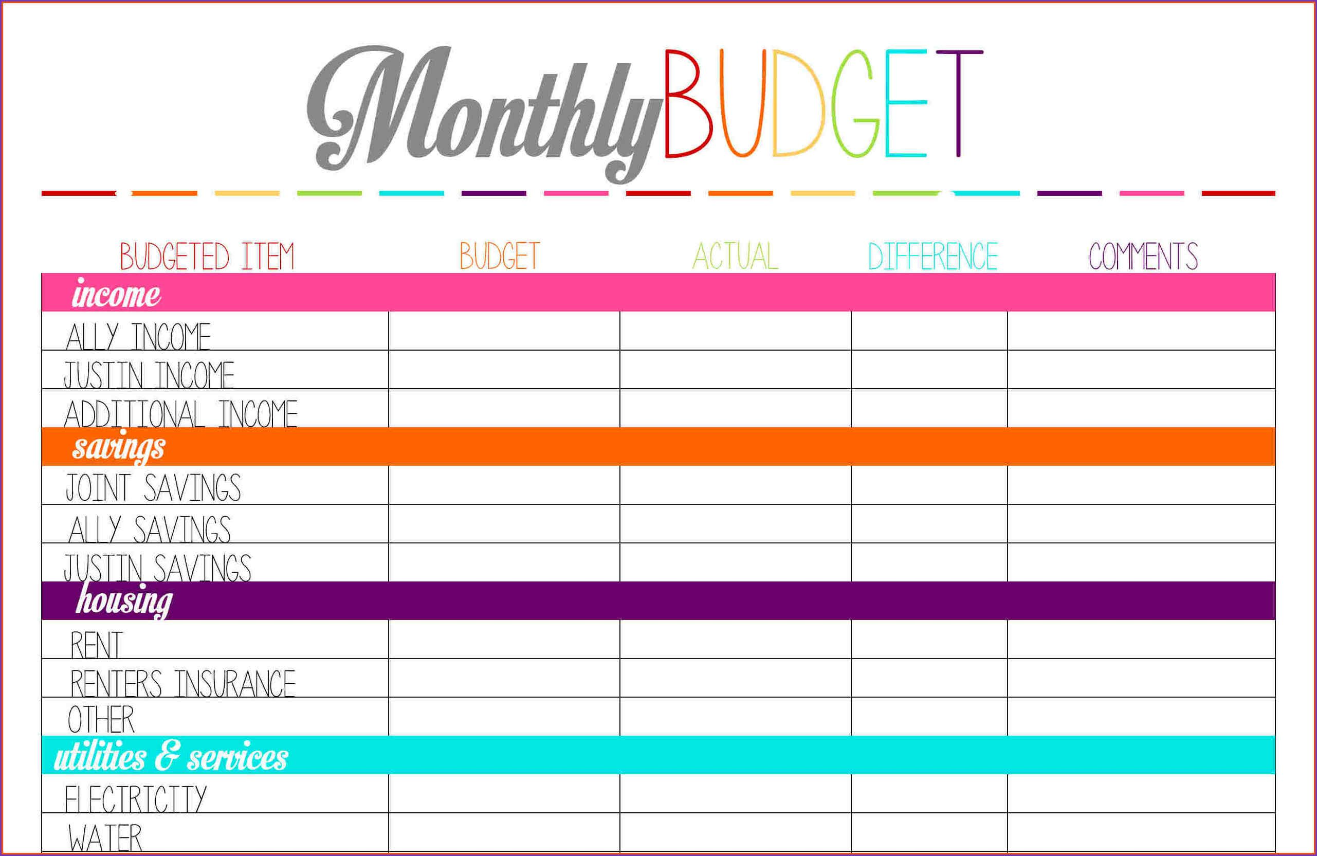 Free Monthly Budget Template Oninstall With Images